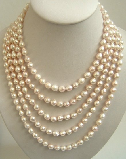5 strand Real pink sea water cultured pearl necklace