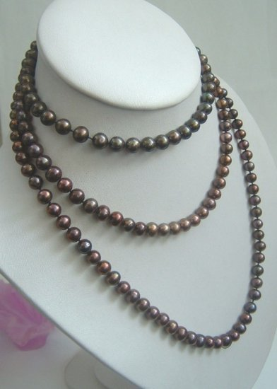 50'' long black color freshwater pearl necklace