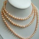 50'' long pink color freshwater pearl necklace