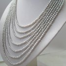 7 strand gray color FW pearls SS925 clasp necklace