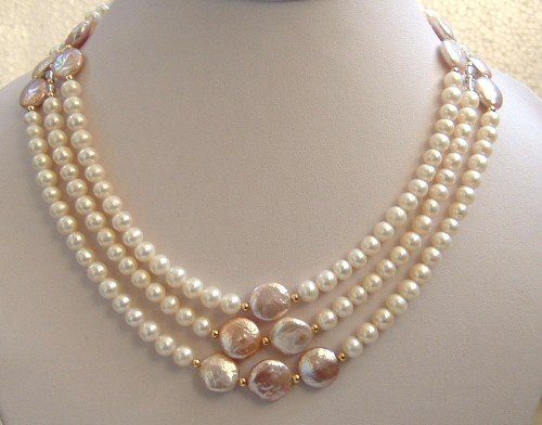 Elegant 3 strand freshwater & coin pearl necklace