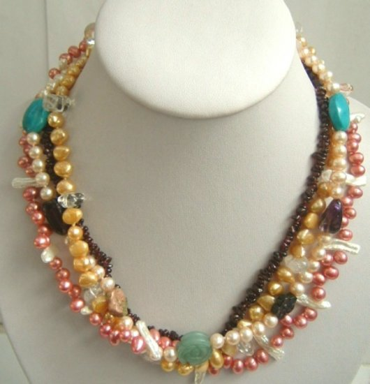 Multicolor gem Fw pearl necklace