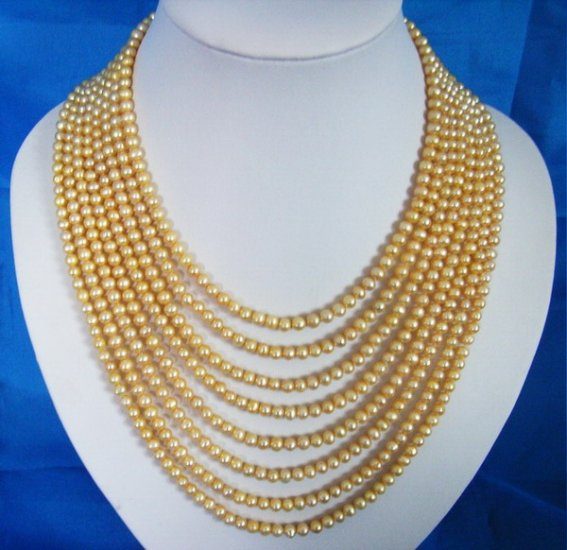 5-6mm Eight strands Yellow Fresh Water Pearls necklace