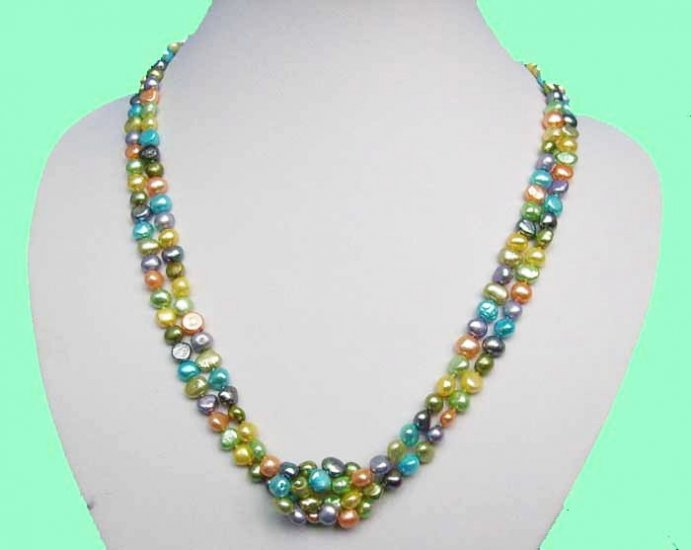 Stylish 6-7mm Colourful Fresh Water Pearls Necklace