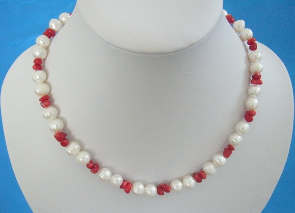 Stylish 9-10mm Fresh Water Pearl and Red coral necklace