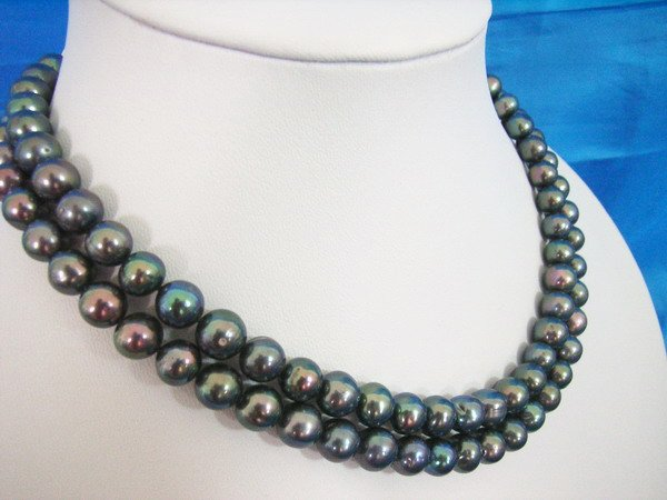 Stylish Double Strand 8-9mm Fresh Water Pearls Necklace