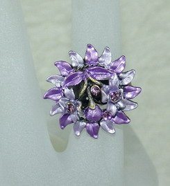 Rhinestone ring flower purple