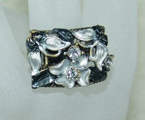 Rhinestone ring rec black