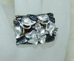 Rhinestone ring rec black