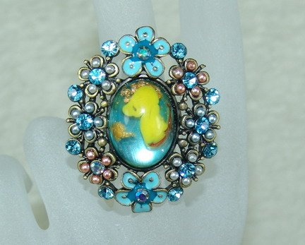 Rhinestone ring fancy blue