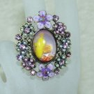 Rhinestone ring fancy purple