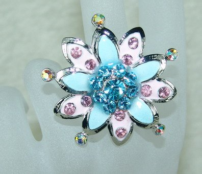 Rhinestone ring pretty blue