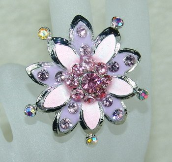 Rhinestone ring pretty pink