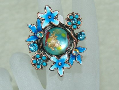 Rhinestone ring cute blue