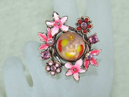 Rhinestone ring cute pink