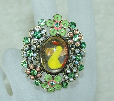 Rhinestone ring lovely green