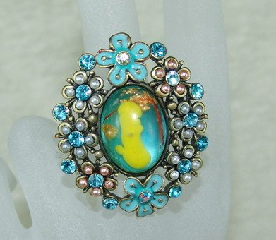 Rhinestone ring lovely blue