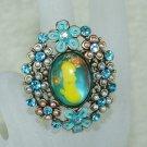 Rhinestone ring lovely blue
