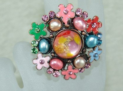 Rhinestone ring special pink