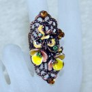 Rhinestone ring vintage yellow