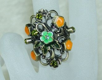 Rhinestone ring stunning orange