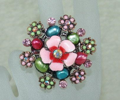Rhinestone ring pink flower