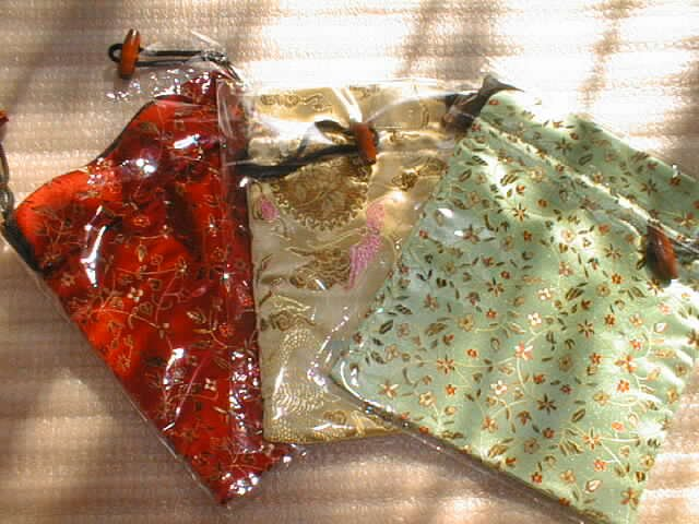 wholesale 15 pieces Chinese silk mid-size square shape bags