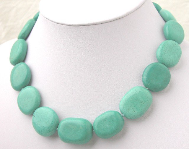 17'' Elliptical Turquoise Necklace Moonlight Clasp
