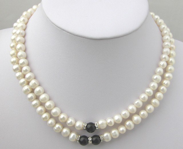 2 STRANDS 7-8MM WHITE FW CULTURED PEARL Necklace