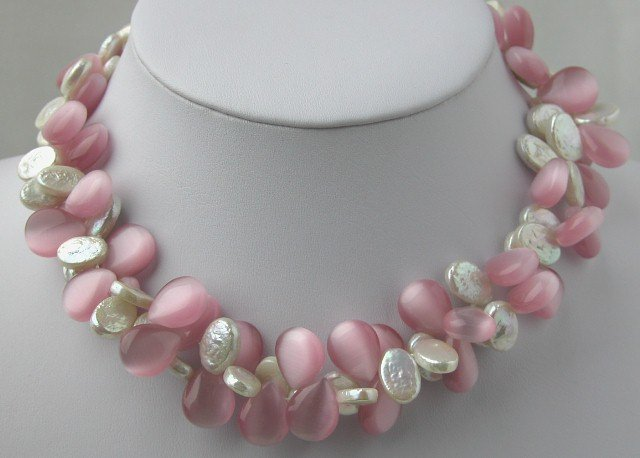 2 Strands White Coin Pearl & Pink Opal Necklace
