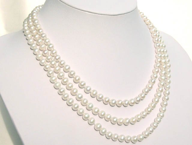 3 STRANDS 6-7MM WHITE FW CULTURED PEARL Neckalce