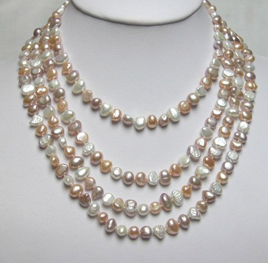 4 ROWS MULTICOLOR FRESHWATER PEARL NECKLACE