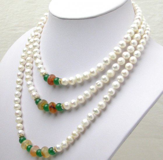 8-9mm Three Strands White Pearl Neckalce S925 Clasp