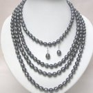 80'' SUPER LONG DARK GRAY FW PEARL NECKLACE EARRING SET