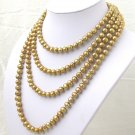 80'' Super Long Golden Freshwater Pearl Necklace