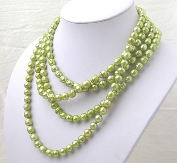 80'' Super Long Green Freshwater Pearl Necklace