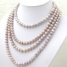 80'' Super Long Purple Freshwater Pearl Necklace