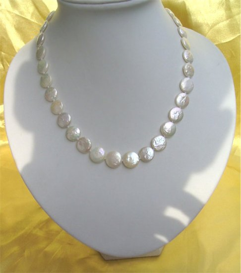 AA GRADE WHITE 12mm COIN PEARL NECKLACE