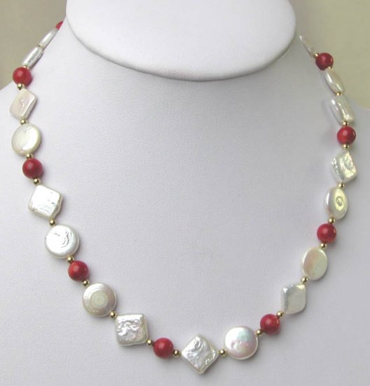AA+ GRADE 12mm COIN PEARL QUADRATE PEARL NECKLACE