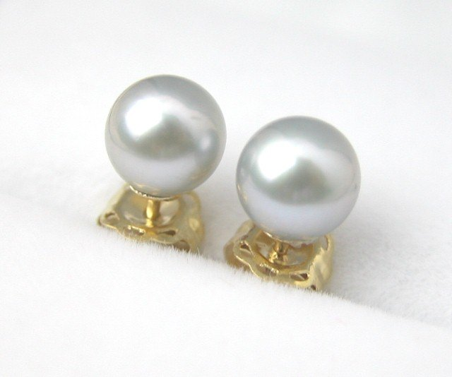 AAA 5mm Natural Gray Saltwater Pearl earring 14k studs