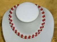 BEAUTIFUL 2 COLORS RED CORAL & WHITE PEARL NECKLACE