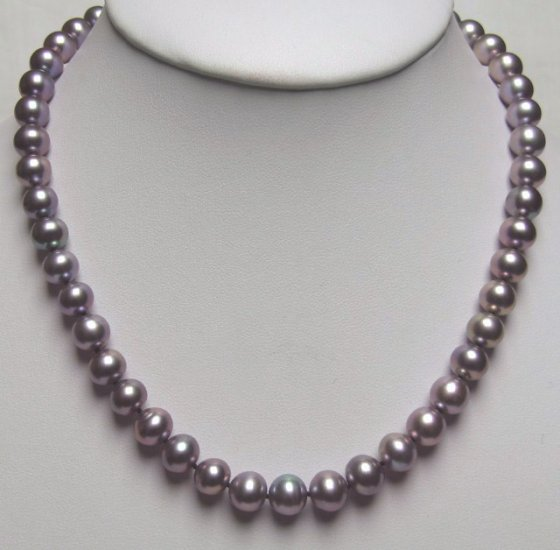 BIG 9-10MM DARK PURPLE FRESHWATER PEARL NECKLACE