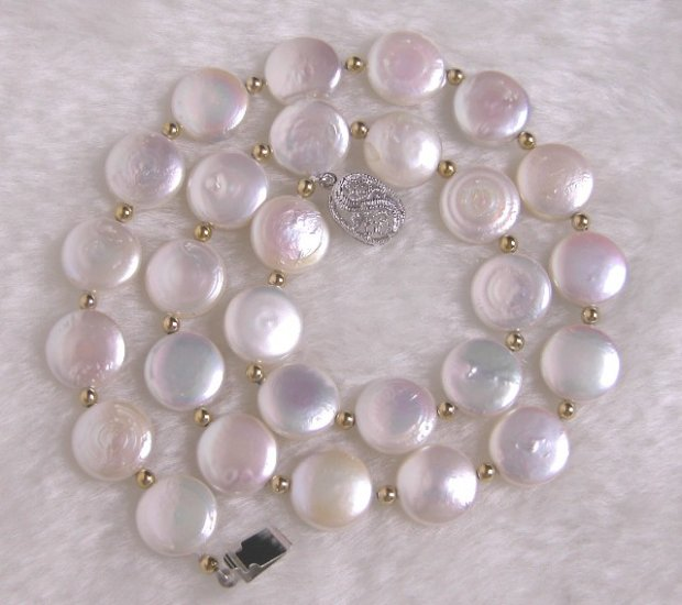 Beautiful 12mm 17'' NaturalWhite Coin Pearl Necklace
