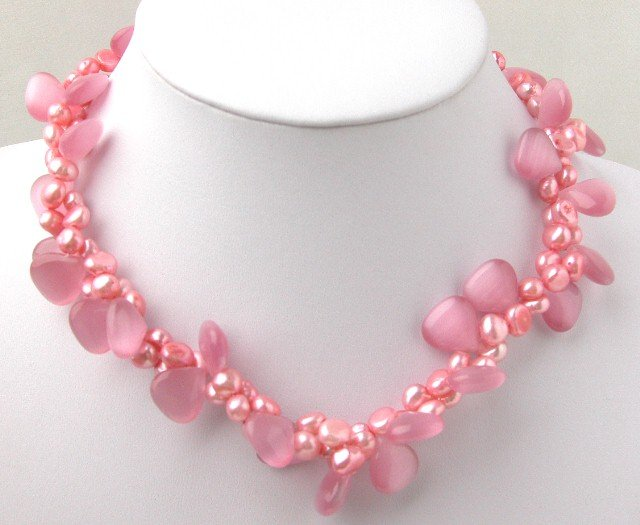 Beautiful 2 Strands Pink FW Pearl & Pink Opal Necklace