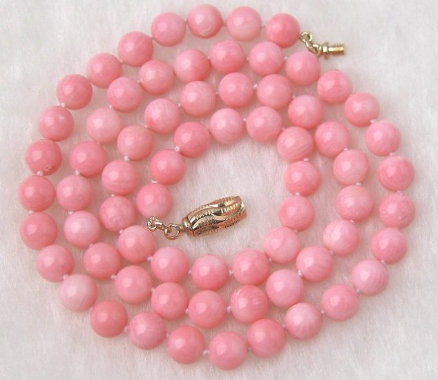 Beautiful 6mm Pink Coral Necklace Lovely Shining Clasp