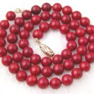 Beautiful 7mm Red Coral Necklace Lovely Shining Clasp