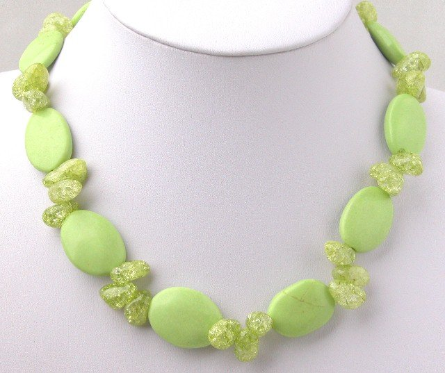 Beautiful Green Turquoise & Green Crystal Necklace