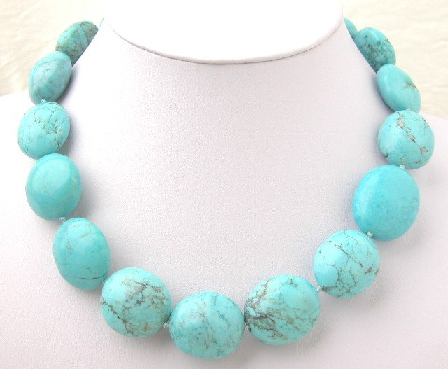 Beautiful blue egg Turquoise Necklace moonlight clasp