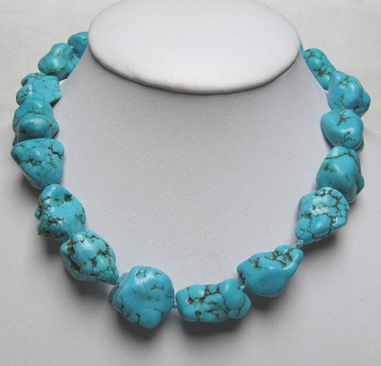 Big Baroque Turquoise Necklace Moonlight Clasp