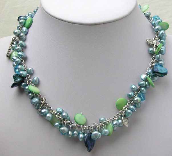 Blue Freshwater Pearl Necklace with silver adorning